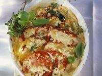 Kartoffel-Tomaten-Gratin mit Spinat