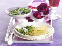 Kartoffelpuffer mit grünem Bohnensalat