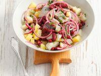 Kartoffelsalat mit Bohnen und Matjes