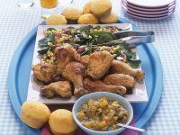 Knusprige Hähnchenkeulen mit Gemüse
