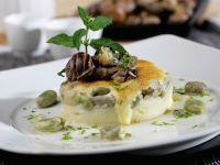 Kräuter-Schnecken mit Kartoffel-Bohnen-Gratin