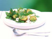 Kräutersalat mit Pellkartoffeln und Schafskäse