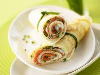 Lachs-Pfannkuchen-Rollen