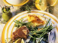 Lammchops mit Gratin und Bohnen