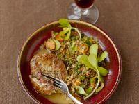 Linsensalat mit Portulak und Beefsteak-Tartar