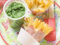 Makkaroni mit Schinken und Spinat