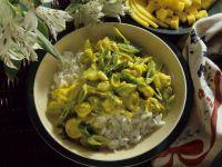 Mango-Lauchcurry mit Reis