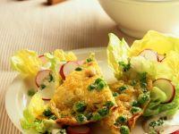 Omelett mit Erbsen und Kartoffeln