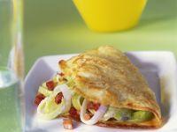 Omelett mit Porree und Speck