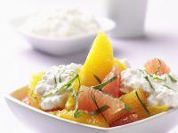 Orangen-Grapefruit-Salat mit Hüttenkäse
