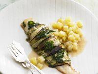 Pangasiusfilet mit Zucchini umwickelt
