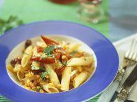 Pasta mit Linsen und Peperoni
