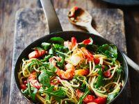 Pasta mit Shrimps und Rucola