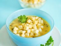 Pilzsuppe mit Croutons