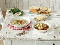 Pilzsuppe mit Speck und Porree