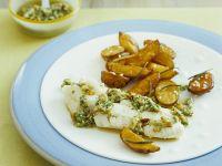 Pochierter Kabeljau mit Ofenkartoffeln