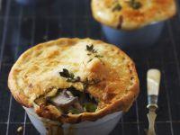 Porree-Hähnchen-Küchlein auf englische Art (Pie)