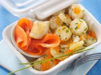Rächerlachs mit Ketakaviar und Kartoffelsalat