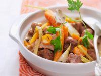 Ragout aus Kalbfleisch, Möhren und Fenchel
