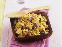 Reispfanne mit Putenfleisch und Aubergine