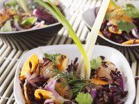 Reissalat mit Kartotten, Zwiebeln und Pampelmusen