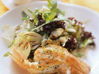Riesengarnelen mit Salat