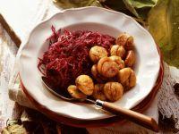 Rotkraut mit gebratenen Maroni