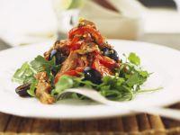 Rucolasalat mit Steakstreifen