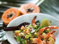 Salat mit Couscous, Garnelen und Avocado