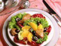 Salat mit Entenleber und Orangenfilets