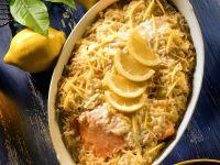 Sauerkrautgratin mit Lachs