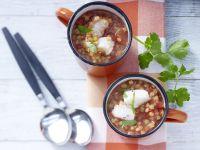 Scharfe Linsen-Tomaten-Suppe