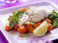 Schellfischfilet mit Möhren und Süßkartoffeln