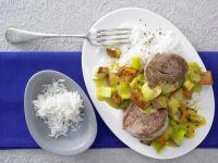 Schweinefilet mit Kürbis-Apfel-Gemüse