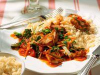 Schweinefleisch süßsauer mit Reis