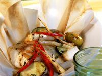 Seeteufel mit Gemüse en papillote gegrillt