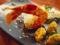 Shrimps mit Reis-Safran-Nockerl