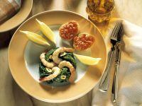 Shrimps mit Spinat und Bruschetta