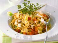Spaghetti in Pilz-Tomaten-Sauce