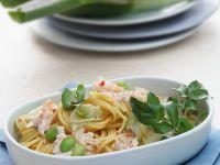 Spaghetti mit Bohnen, Lauch und Krebsfleisch