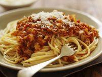 Spaghetti mit Steinpilz-Hackfleischsauce