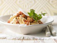 Spaghetti mit Pilz-Bolognese