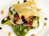 Spinat-Lasagne mit Hähnchenleber