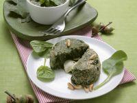 Spinatflan mit Mozzarella gefüllt