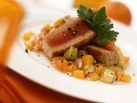 Thinfischsteak mit Kürbis und Avocado