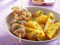 Tintenfisch-Spieße mit Kartoffeln