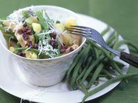 Vollkornnudeln mit Kartoffeln und grünen Bohnen