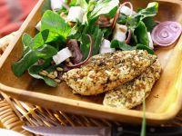 Würziges Hähnchenfilet mit Spinatsalat