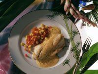 Zanderfilet mit scharfer Erdnusssauce und Tomaten-Mais-Confit