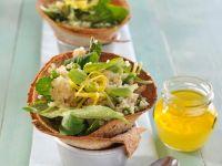 Zitronen-Couscous in knusprigen Brottütchen
